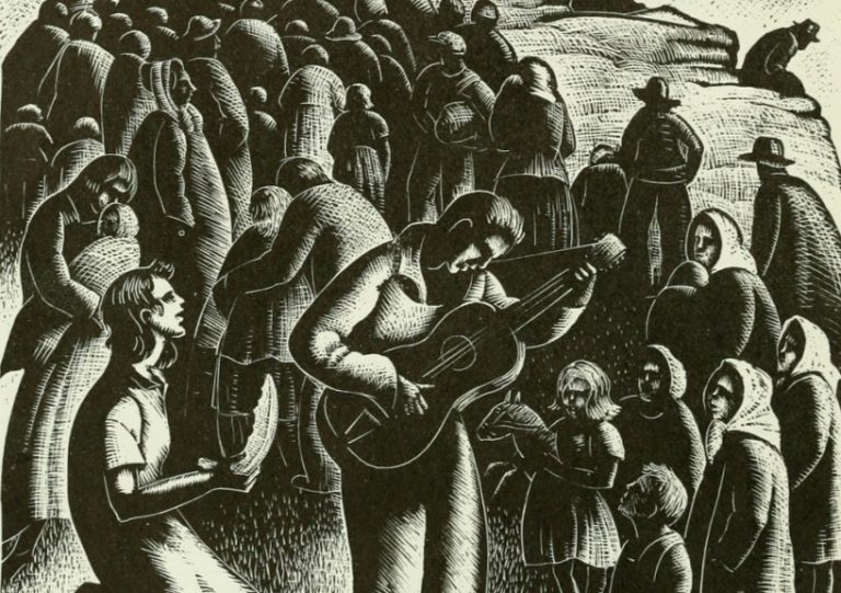 """All Day Singing,"" Woodcut by Clare Leighton, 1952."